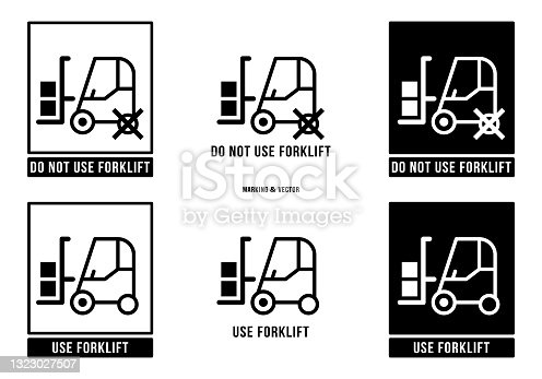 istock A set of manipulation symbols for packaging products and goods. Marking - Do not use or operate forklift trucks. Vector elements. 1323027507