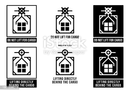 istock A set of manipulation symbols for packaging products and goods. Marking - Lifting directly behind the cargo! Marking - Do not lift for cargo! Vector elements. 1324698015