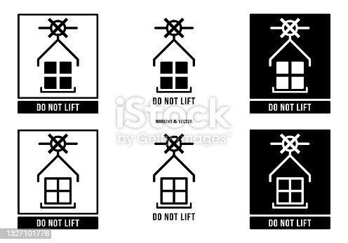 istock A set of manipulation symbols for packaging products and goods. Marking - Do not lift. Vector elements. 1327101776