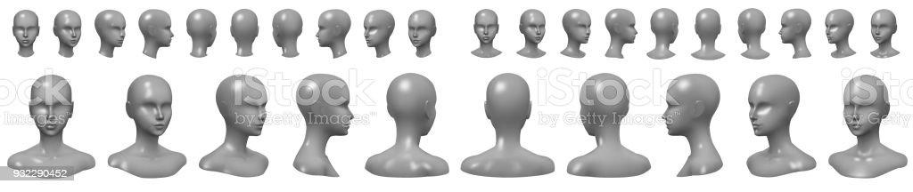Set of mannequin busts and heads. royalty-free set of mannequin busts and heads stock illustration - download image now