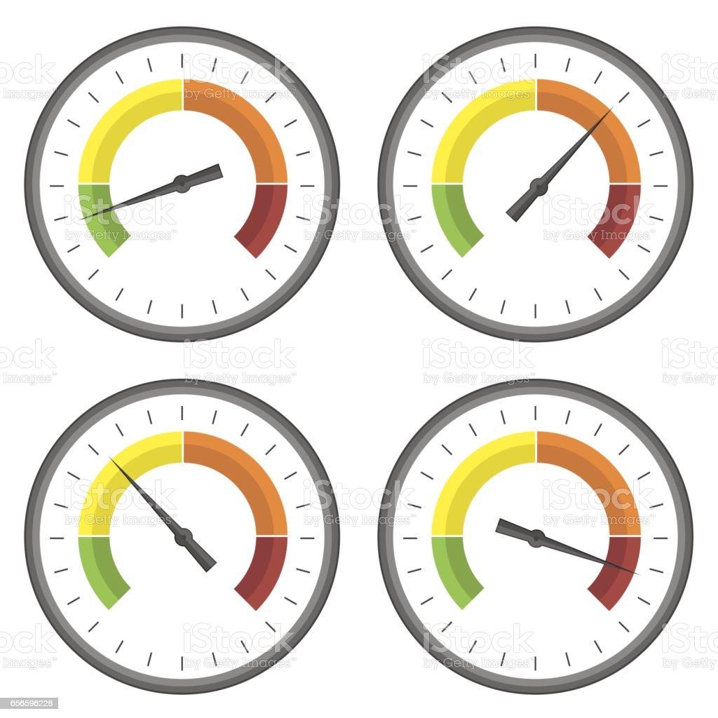 Set of Manometer Icons vector art illustration