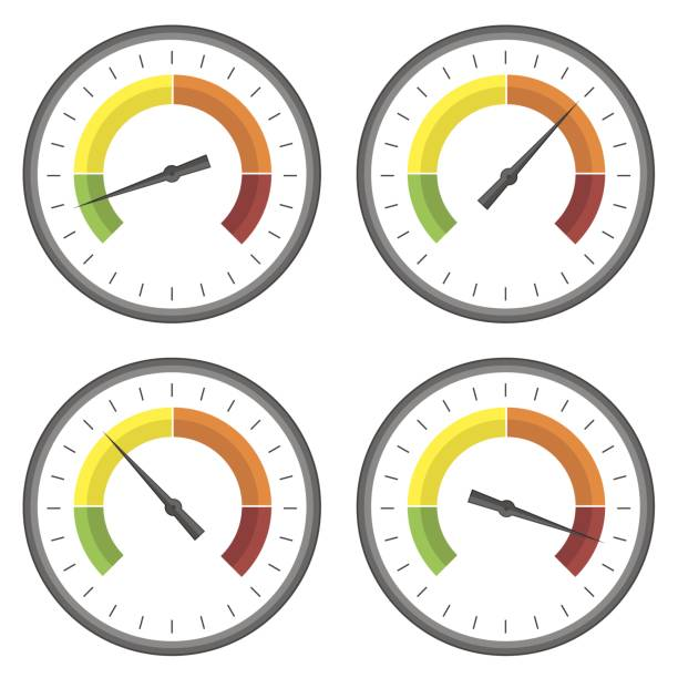 Set of Manometer Icons vector art illustration