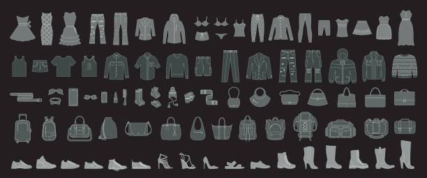 set of man`s and women's clothing and accessories. - mens fashion stock illustrations, clip art, cartoons, & icons