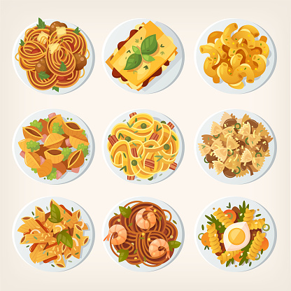 Set of many different kinds of pasta dishes from top.