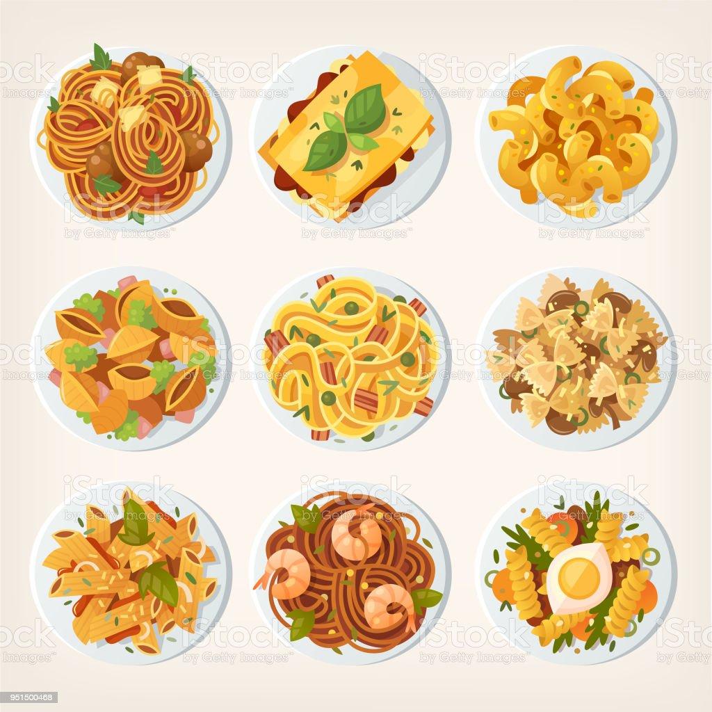 Conjunto de diferentes tipos de pastas desde la parte superior. - ilustración de arte vectorial