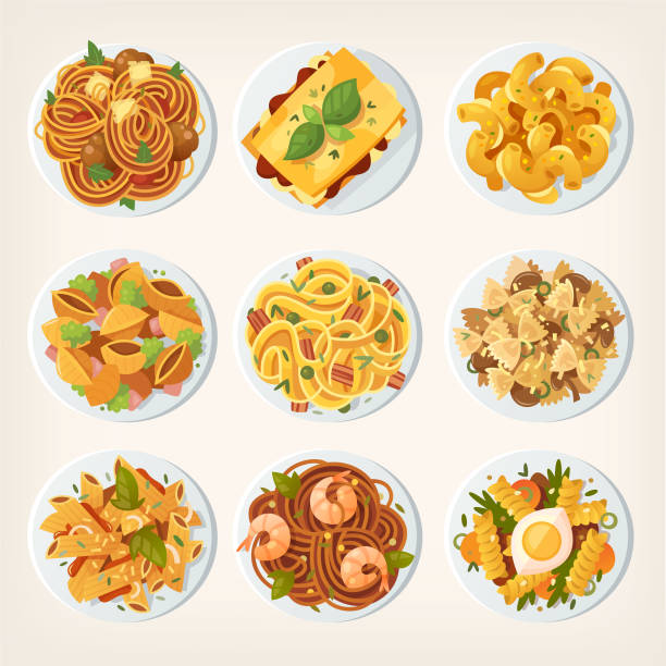 illustrazioni stock, clip art, cartoni animati e icone di tendenza di set of many different kinds of pasta dishes from top. - pasta