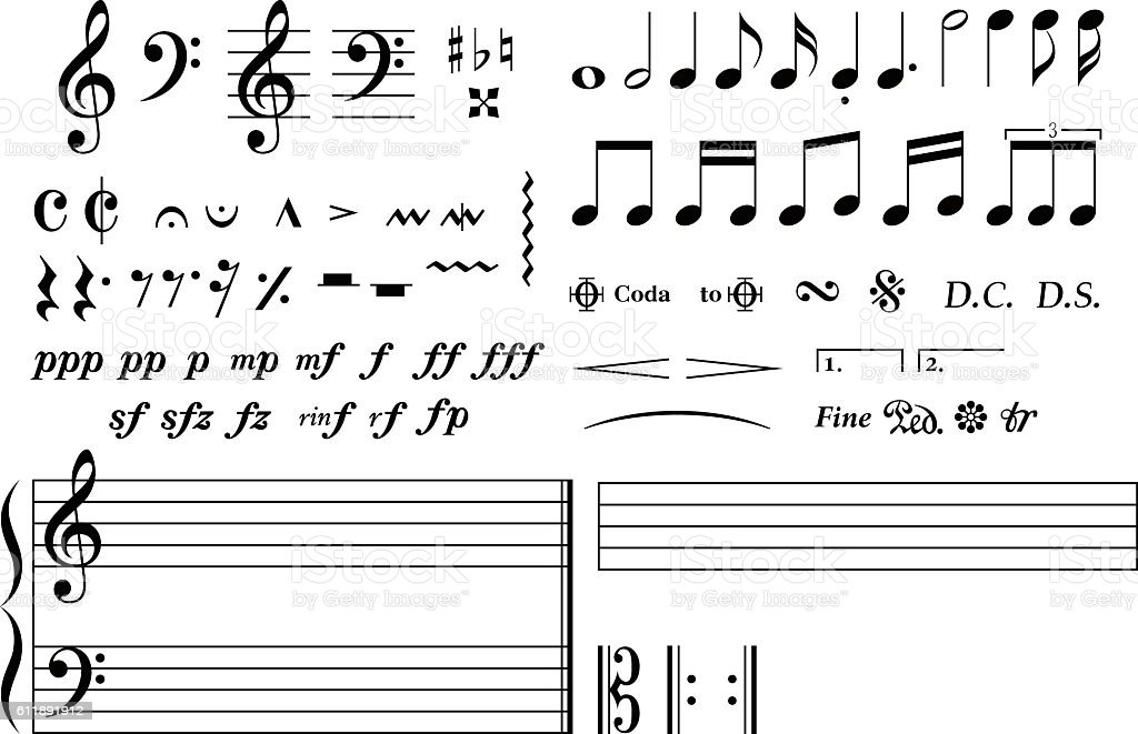 Set of many notes / Simple and basic musical symbol. vector art illustration
