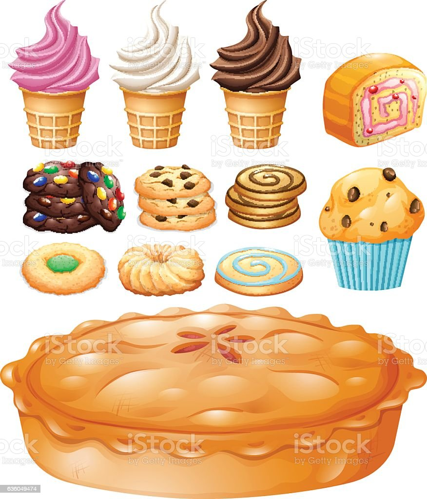 Set of many types of desserts vector art illustration