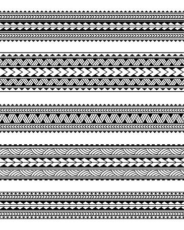 Set of Maori polynesian tattoo border tribal sleeve pattern vector. Samoan bracelet tattoo design fore arm or foot.