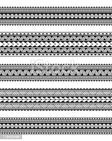 istock Set of Maori polynesian tattoo border tribal sleeve pattern vector. Samoan bracelet tattoo design fore arm or foot. 1194054981