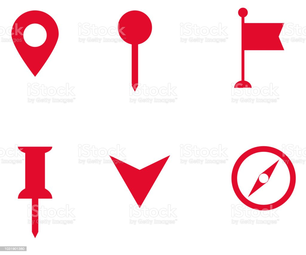 Free Google Maps Pointer Icon: Set Of Map Pointer Icon On White Background Flat Style