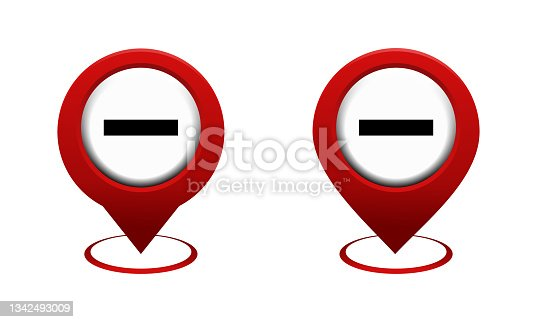 istock Set of map pointer with stop icon. Red map pin. Prohibited location. Do not enter. 1342493009