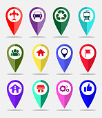 set of maps pin, locating destination on application or gadget. easy to modify