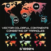set of colored maps of the world, consisting of triangles