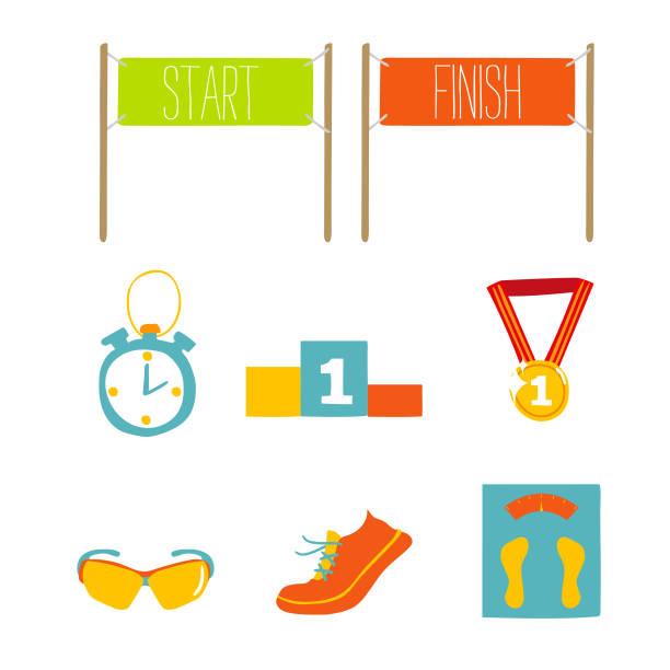 set of marathon flat icon design, vector illustration. - finish line stock illustrations, clip art, cartoons, & icons