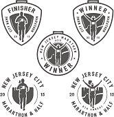 Set of marathon labels, medals and design elements
