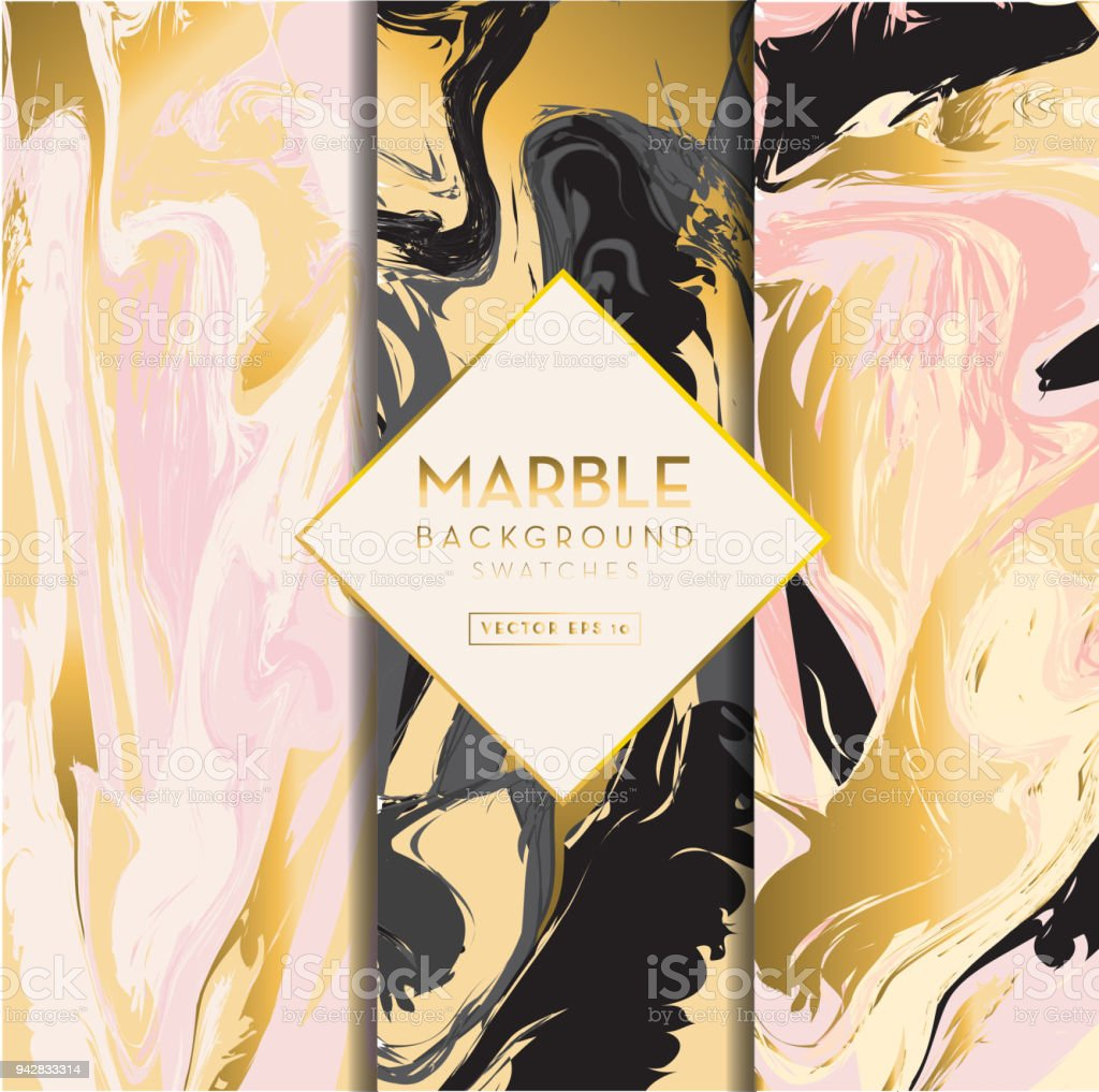 Set of marble backgrounds vector art illustration