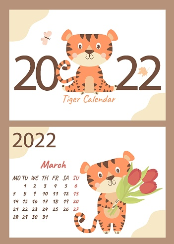 Set of March calendar and cover of 2022. Cute tiger cub with bouquets of flowers - tulips. Vector illustration. horizontal A4 template. Week starts on Monday. Year of the Tiger in Chinese or oriental