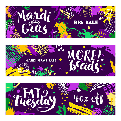 Set of Mardi Gras banners
