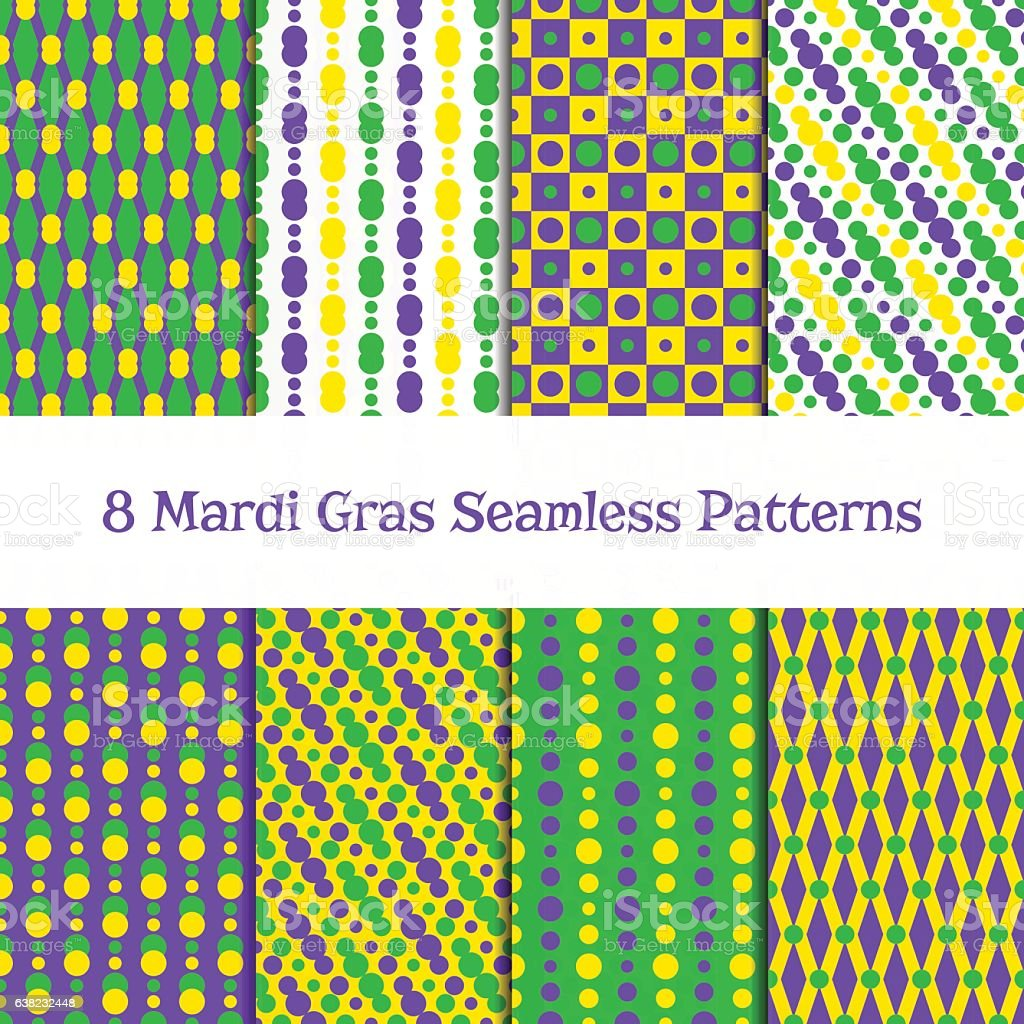Set of Mardi gras patterns vector art illustration