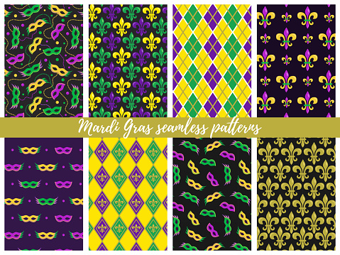 Set of Mardi Gras seamless patterns;  vector backgrounds for wrapping paper, packaging, fabric, textile, etc.