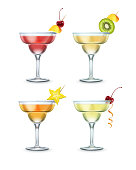 Set of different Margarita cocktails garnished with cherry, piece of mango, kiwi and carambola on toothpick isolated on white background