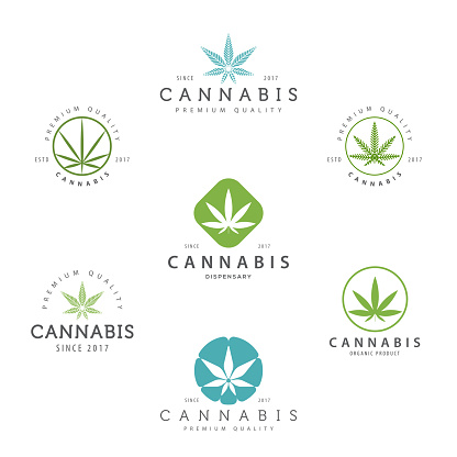 Set of marijuana cannabis leaf , labels.