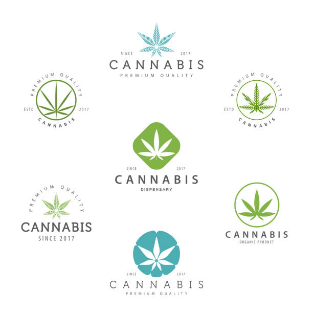 Set of marijuana cannabis leaf , labels. Modern vintage  for recreation and medical use. marijuana stock illustrations