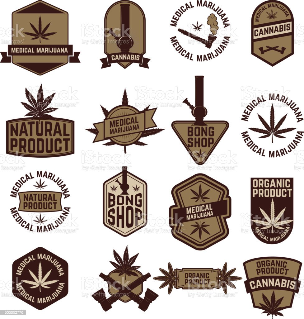 set of Marijuana labels vector art illustration