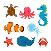 Icon of turtle, octopus, seahorse, clownfish, starfish, crab, jellyfish, whale. Set of marine animals isolated on white background, illustration.