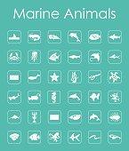 Set of marine animals simple icons