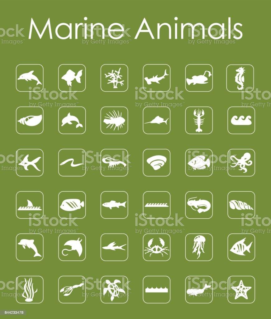 Satz Von Meer Tiere Einfache Symbole Stock Vektor Art und mehr ...