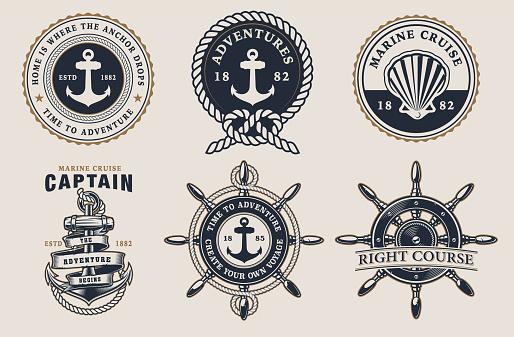 Set of marine badges on  the light background