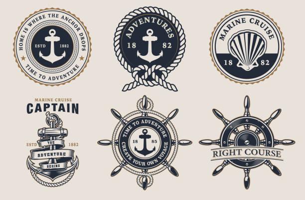 ilustrações de stock, clip art, desenhos animados e ícones de set of marine badges on  the light background - veículo aquático