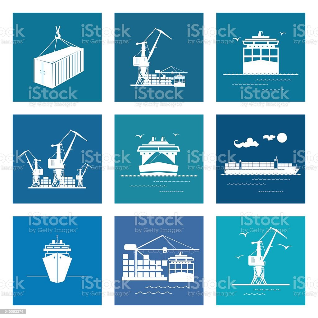 Set of Marine Cargo Icons vector art illustration