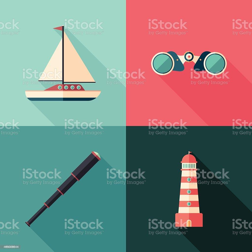 Ensemble de plat icônes marine avec ombres mètres de long. - Illustration vectorielle