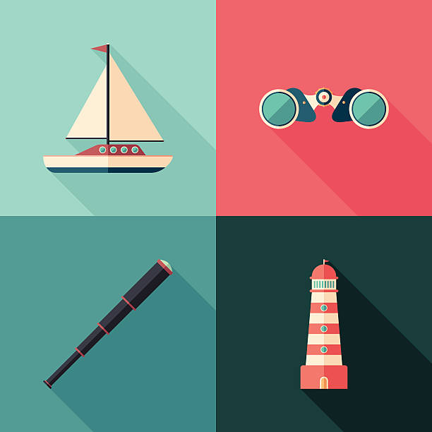 Set of marine flat square icons with long shadows. vector art illustration