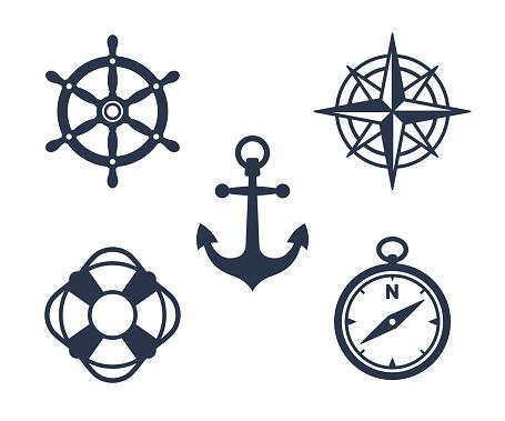 Set of marine, maritime or nautical icons clipart