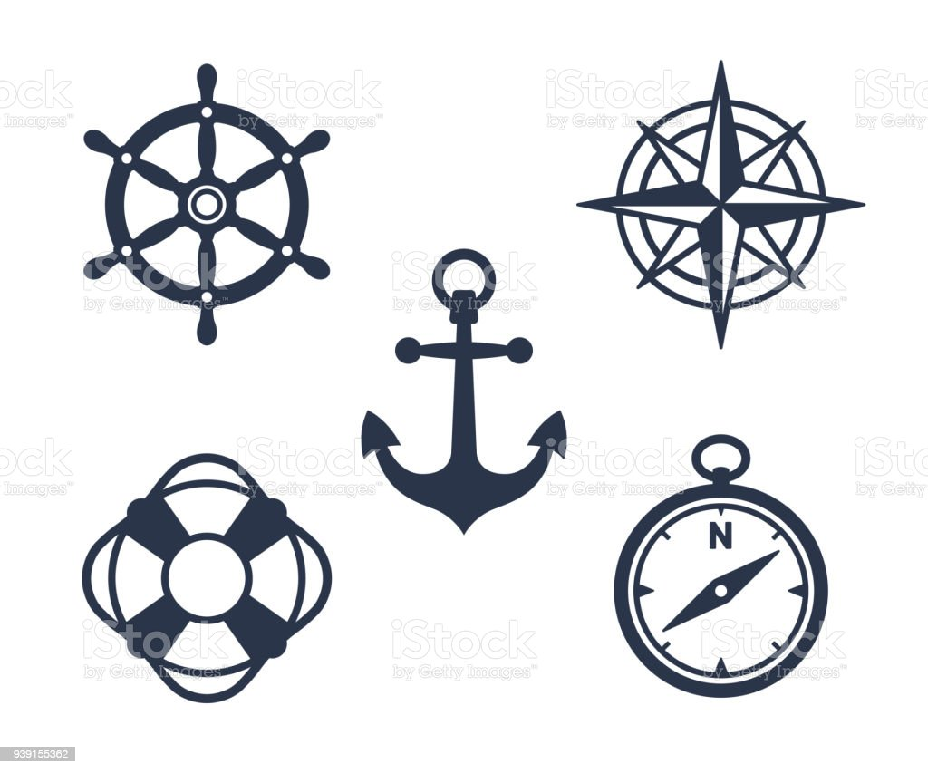 Set of marine, maritime or nautical icons vector art illustration