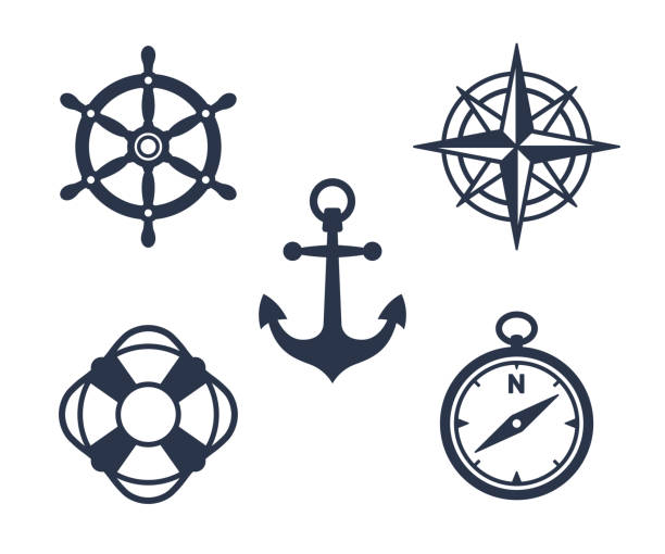 set of marine, maritime or nautical icons - compass stock illustrations