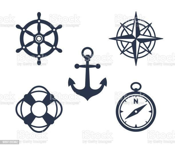 Set of marine, maritime or nautical icons with an anchor, buoy, life ring, compass, compass rose and ships steering wheel isolated on white, eps8 vector illustration