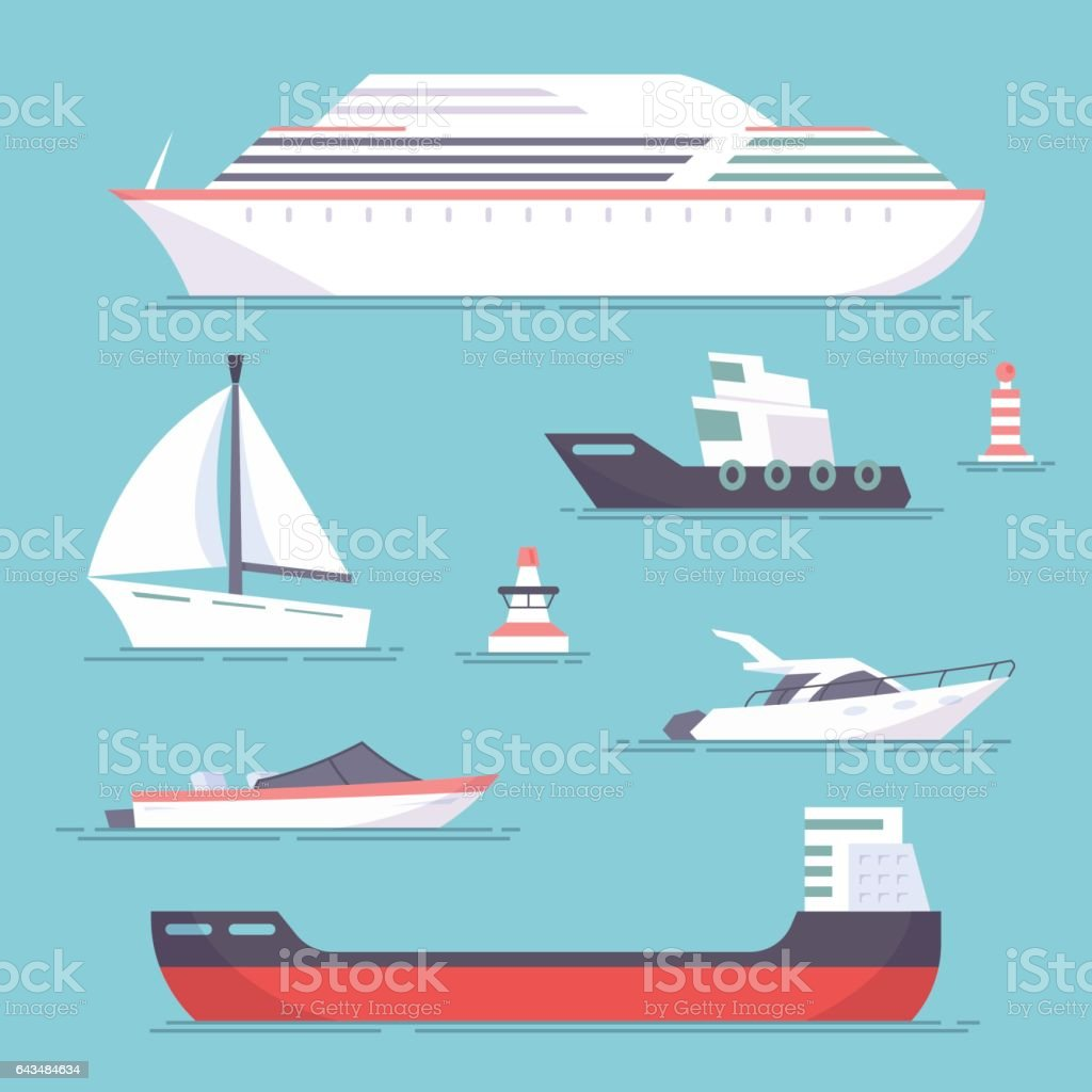 Set of marine ships, boats, yachts and sailing tanker. Marine buoy. Vector, illustration in flat style isolated on blue background EPS10. vector art illustration