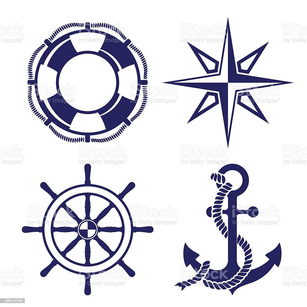Set Of Marine Symbols Vector Illustration Stock Vector Art ...