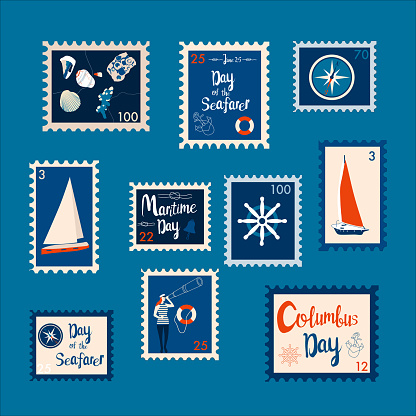 Set of marine theme stamps. Day of the Seafarer, Columbus day, Maritime day vector illustration.