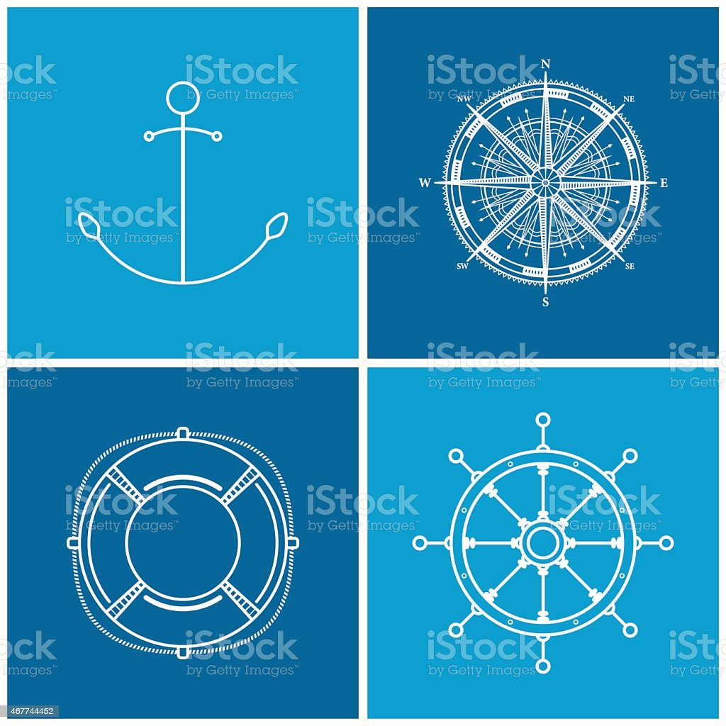 Set of maritime icons, vector illustration vector art illustration