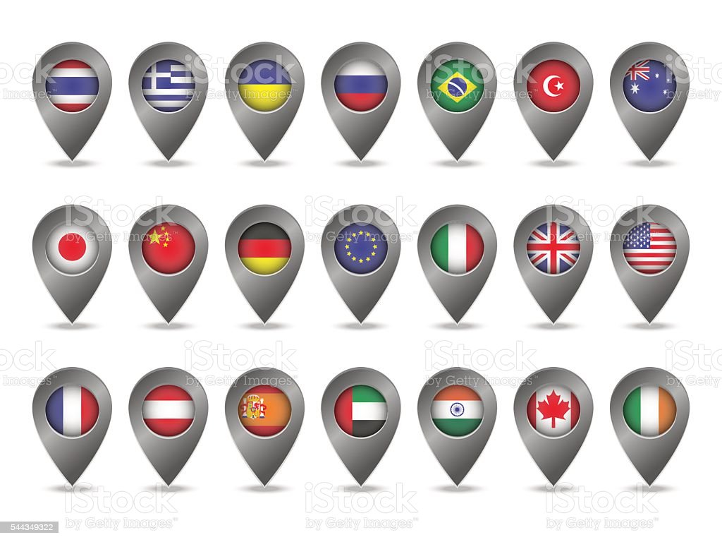 set of markers with flags vector art illustration