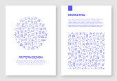 Set of Marketing Related Icons Vector Pattern Design for Brochure,Annual Report,Book Cover.