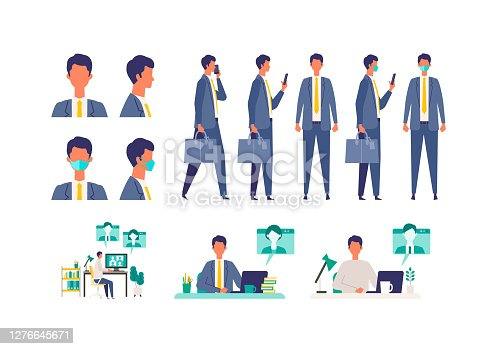 istock Set of masked businessman in different poses. Concept for teleworking. 1276645671
