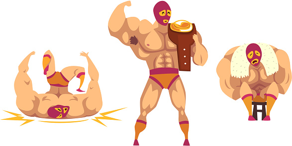 Set of Masked Mexican Wrestlers, Battle Acrobat Fighters, Lucha Libre Cartoon Vector Illustration