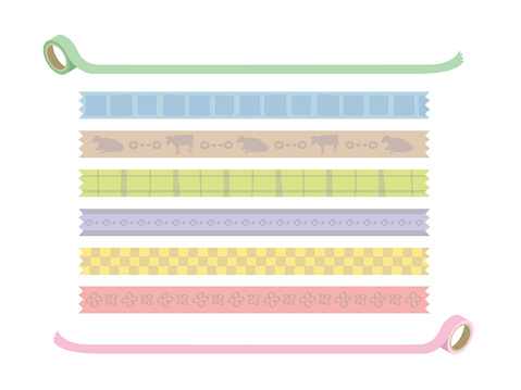 Set of masking tape-style line material